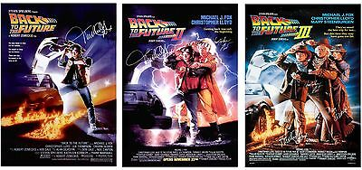 BACK TO THE FUTURE TRILOGY   1  2 & 3 Movie POSTERS  - SIGNED PRINTS