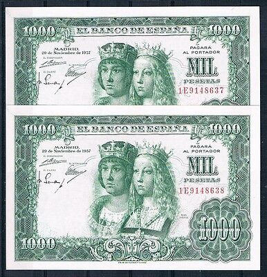 Spain-Banknote Extremely  Rare Consecutive Pair  1000 Pesetas 1957 Aunc