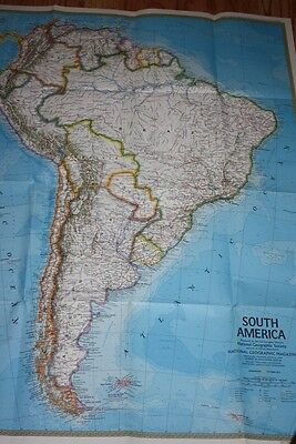 South America by Nat'l Geographic, 1972. 22.5 x 30.5 Inches Double sided