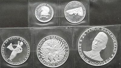 1970 Indonesia 5 Coin Silver Proof Set in OGP