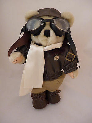 Tender Heart Treasures Bear Pilot in Aviator Airplane Outfit & Stand 13.5""