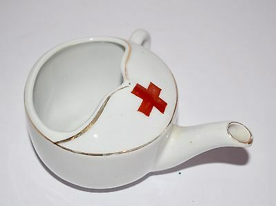 Antique WW I porcelain Red Cross Invalid Feeding Cup with Spout  & gold trim