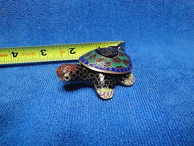 Cloisonne Turtle Pill Box, 2 1/5 inches long.