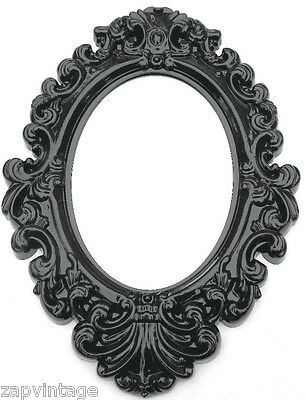 New Blsck Oval SHABBY CHIC / VICTORIAN Gothic Style Plastic Hanging Wall Mirror