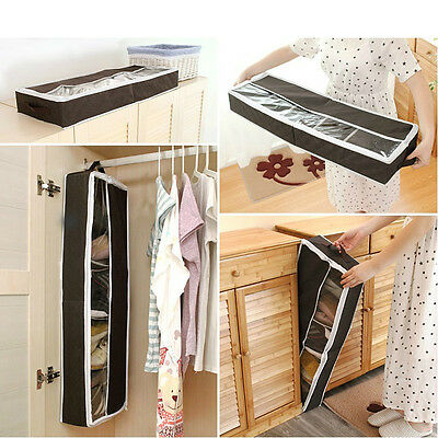 Shoe Container Underbed Zipped Handle Foldable Closet Storage Box Organizer Tidy