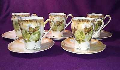 Antique Germany Porcelain Chocolate Tea Coffee 5 Demi Cups 5 Saucers Pink Green