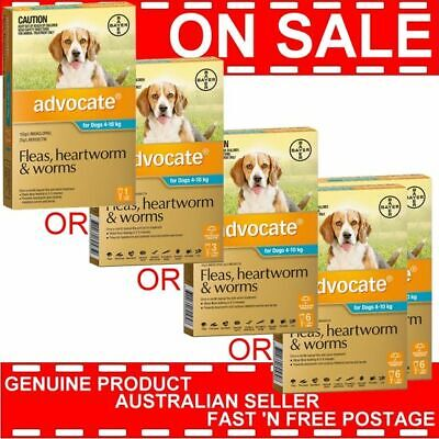 Advocate for Dogs 4-10kg 1 Pack or 2 Pack or 3 Pack or 6 Pack or 12 Pk