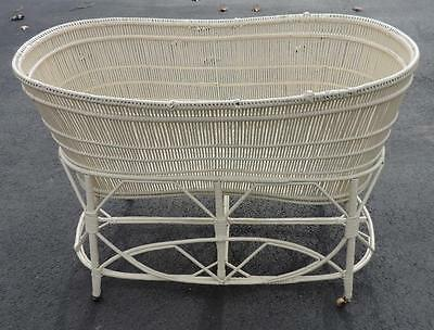 "ANTIQUE/VINTAGE 27""h OFF-WHITE WICKER 2-pc BASSINET WHEELED STAND- PICK UP 37683"