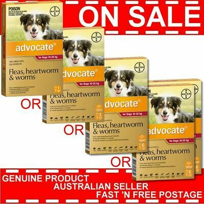Advocate for Dogs 10-25kg 1 Pack or 2 Pack or 3 Pack or 6 Pack or 12 Pk