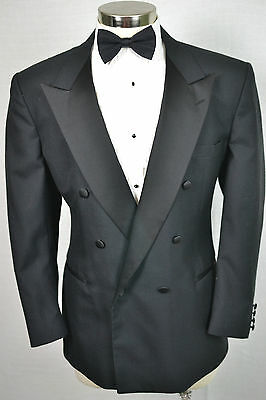 (42S) Stanley Blacker Men's Black Wool Tuxedo TUX Jacket Sport Coat Blazer