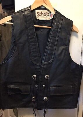 Vintage SCHOTT Men's Black Leather Motorcycle Rider Cowboy Style Vest. Size L