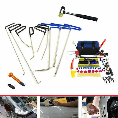 PDR Hail Removal Dent Puller Rods Kit Paintless Repair Hammer+Wedge DIY Tools