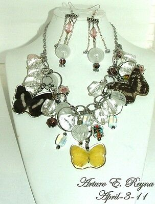 Artisan Arturo E.Reyna Real BUTTERFLYS Gemstone Glass Beads Bib/Necklace Set