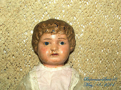 Rare Antique Tin Head Germany Minerva Double Jointed Linning Dress Girl Doll