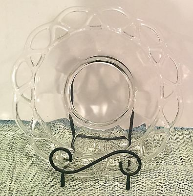 Vintage 1940s Imperial Glass Crochet Open Lace Edge luncheon plate