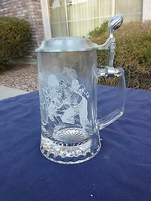 Authentic NFL Beer Stein with Pewter lid and Etched Glass