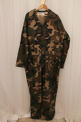Duck Bay Mens Green Camouflage Long Sleeve Canvas Huntin Coveralls Size XL