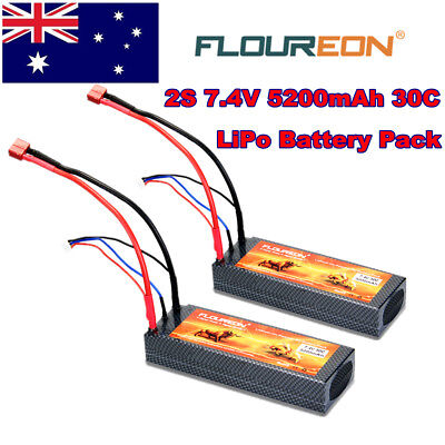 2X 5200mAh 7.4V 2S 30C LiPo Battery Deans T Plug for RC Car Truck Plane Hobby