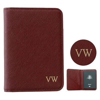 PERSONALISED MONOGRAM Womens Mens Leather Passport Holder Travel Wallet Dark Red