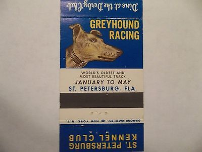 Derby Lane Greyhound Racing Matchbook Cover St Petersburg Fl Florida Genuine