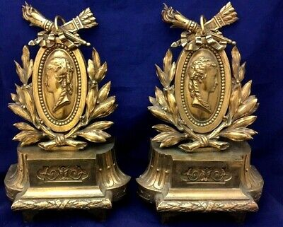 Pair Antique Fire Place Victorian Bronze French Andirons/Chenets Circa 1840-1880
