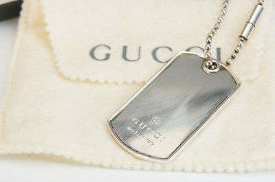 Authentic GUCCI Sterling Silver Dog Tag Plate Key Chain w/box Free Ship 819f33