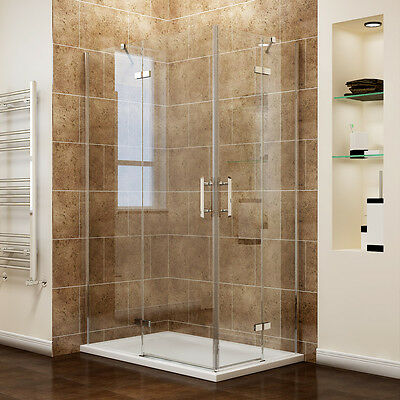 Square Corner Entry Shower Cubicle Enclosures Frameless Pivot Door And Tray