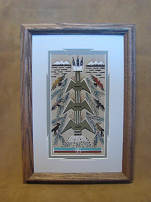 Native American Indian Authentic Navajo Sandpainting by Glen Nez