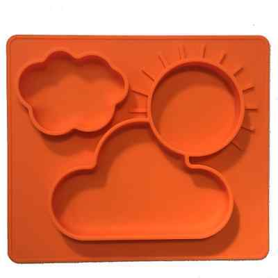 One-piece silicone placemat + plate for kids. . Orange.