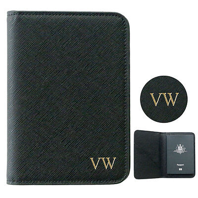 PERSONALISED MONOGRAMMED Saffiano Leather Passport Holder Travel Wallet Black