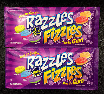 Qty: 2 x Razzles Fizzles First Candy then its Gum Lollies 40g