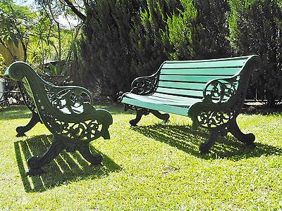 A Pair of Victorian Antique Cast Iron Garden Benches. English 1880's - SUPERB!!