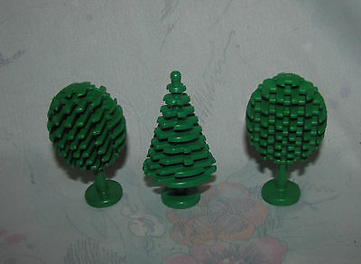 Set of 3 Classic Lego Trees - 2 Round, 1 Pointed - City, Town