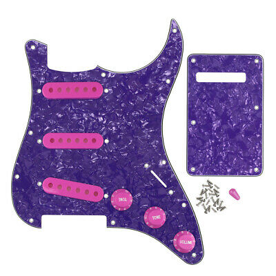 4Ply FD Strat Guitar SSS Pickguard 11Holes & Back Plate Pickup Covers Knobs Caps