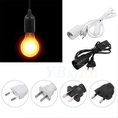 E27 Type Plug-In Hanging Pendant Light Fixture Lamp Bulb Socket Cord with Switch