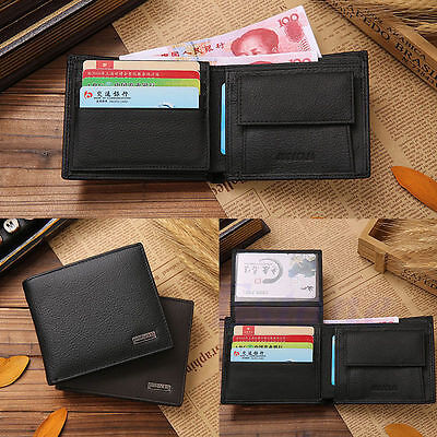Fashion Men Leather Trifold Wallet Credit/ID Card Coin Holder Slim Purse