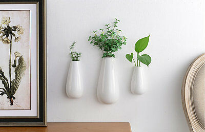 3PCS/Pack White Ceramic Wall Vase, Indoor Wall Planter Vase Art Wall Decor Gifts