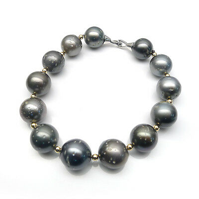 12-13.5MM Multicolor Real Tahitian Cultured Pearl Bracelet 925 Sterling Silver
