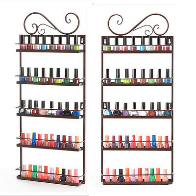 5 Tier Metal Nail Polish Stand Holder Display Wall Rack Organizer 50+ Bottles US