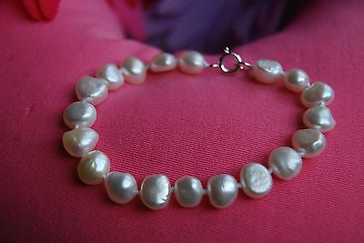 Genuine 8-10 mm Creamy White Irregular Pearl Bracelet with Sterling Silver Clasp