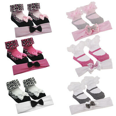 Newborn Infant Baby Girls Sock Booties Headband 3 Pack Set Accessory 0-12 Months