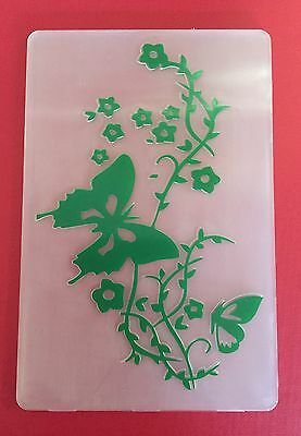 NEW• BUTTERFLY Flower Swirl Embossing Folder For Cuttlebug Or Sizzix