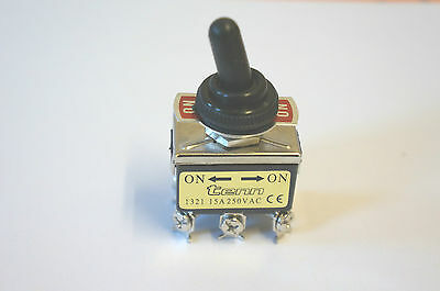 15A/250VAC DPDT 6 Screw Terminals Toggle Switch with Black Waterproof Cover