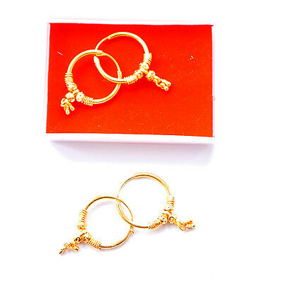 Real looking 22 ct gold plated EARRINGS - Indian hoop drop Style gift girls  h54