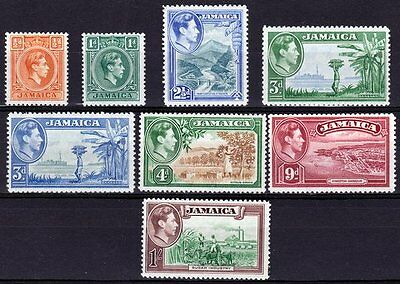 Jamaica-1938/52. 8 values to 1/-. Very fresh MM.