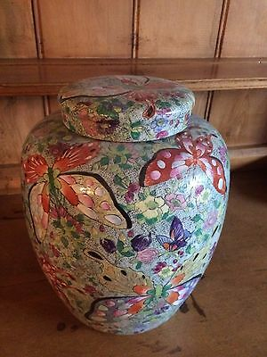 Vintage/antique very large Chinese butterfly ginger/storage JAR ~S.Derbyshire