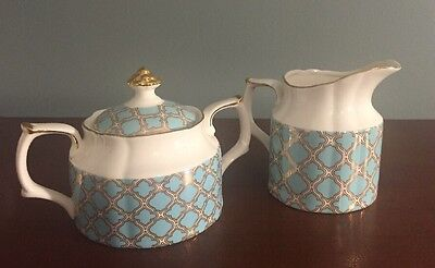 New Grace's Teaware White+Teal+Gold Accent Large Sugar & Creamer