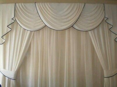 Swags/tails/curtains All Cream Trimmed With Brown. 90X60X90 Unlined