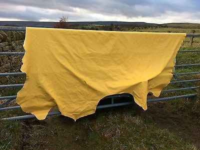 Large Leather Hide Finest Italian Leather Bright Yellow Crest