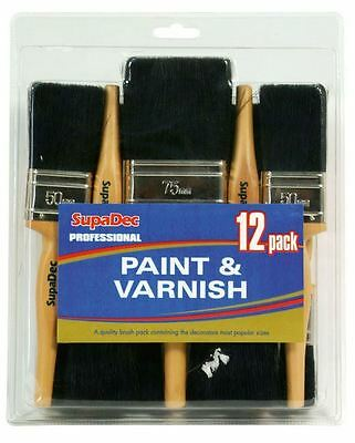 SupaDec Professional Painters Decorating Dozen 12 Piece Paint Varnish Brush Set